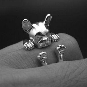 Wrap Around French Bull Dog Ring Goldtone